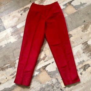 Red Talbots 100% silk high waist dress pants sz 2P